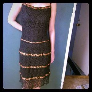 Nanette Lepore Lace Dress with Floral Trim